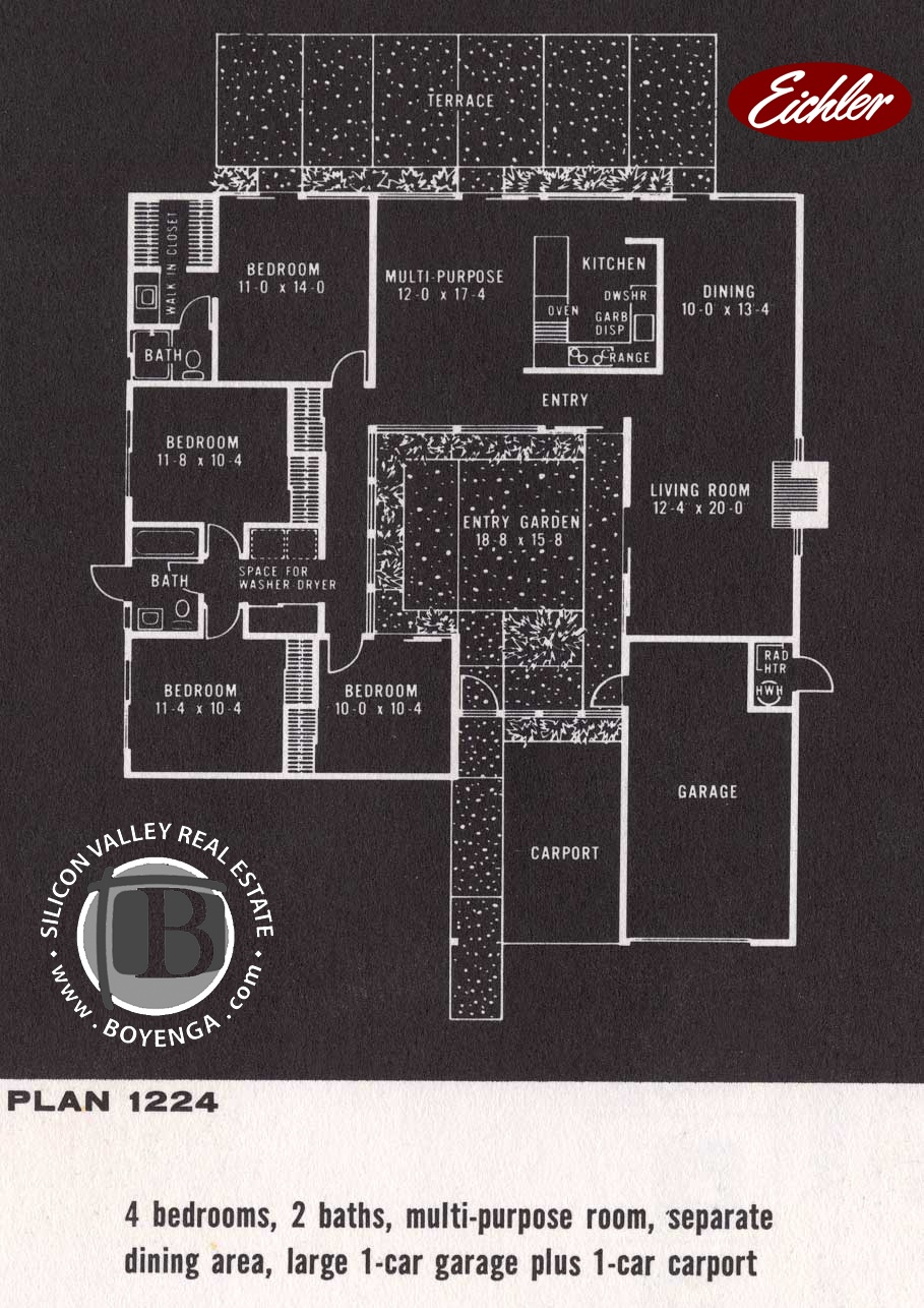 Fairbrae Sunnyvale Eichler Real Estate Floor Plans